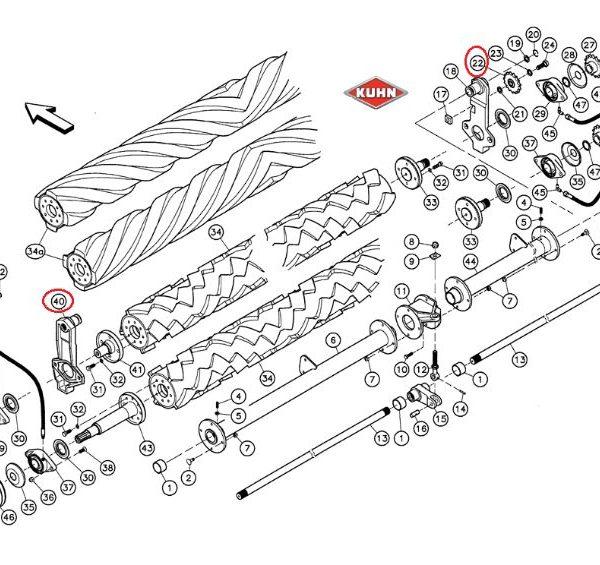 Antallaktika kuhn 81241600 Γρανάζι τεντωτήρα 15 δόντια με ρουλεμάν
